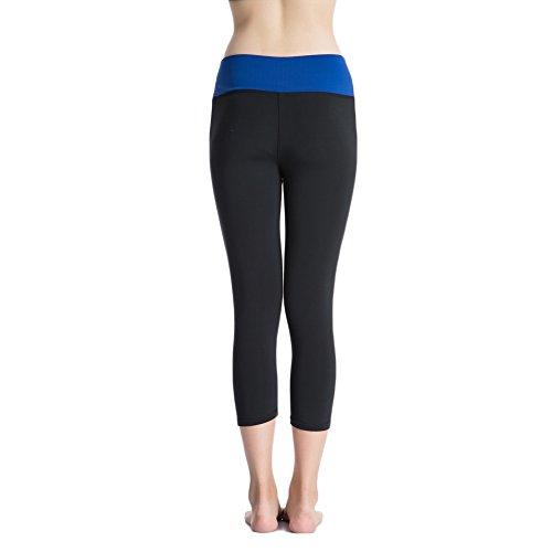 Bmeigo Mujer Activewear Yoga Cropped Capri Pantalones Exercise Leggings con función de secado rápido Blue