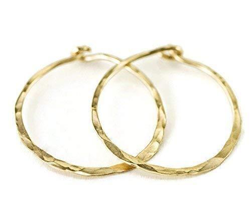 Solid 18k Gold Hoops - Lightweight Hammer Textured Hoop Earrings