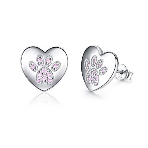 Heart Earrings, 925 Sterling Silver Heart Stud Earrings Cat Earrings Dog Paw Earrings Hypoallergenic Earrings Pet Earrings Gifts for Women Men Pet Lover
