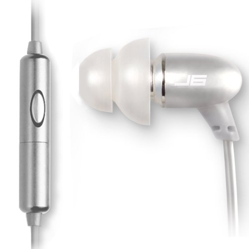 JLab Audio J6M High Fidelity Metal Ergonomic Earbuds Style Headphones w/Mic, Guaranteed for Life - Titanium Silver