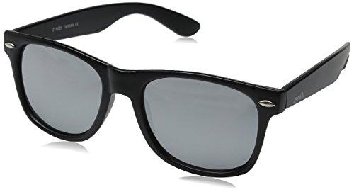zeroUV ZV-8025-07 Retro Matte Black Horned Rim Flash Colored Lens Sunglasses, Black/Grey, - Sunglasses Width