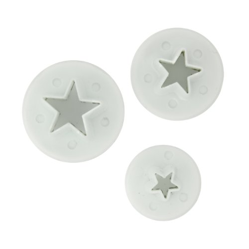 Fox Run Brands 67007 3-Piece Star Fondant Plunger Cutter - Cutter Star Plunger