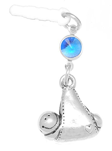 (Clayvision Baby Girl or Boy in Blanket Phone Charm Sapphire Colored Crystal September White Plug)