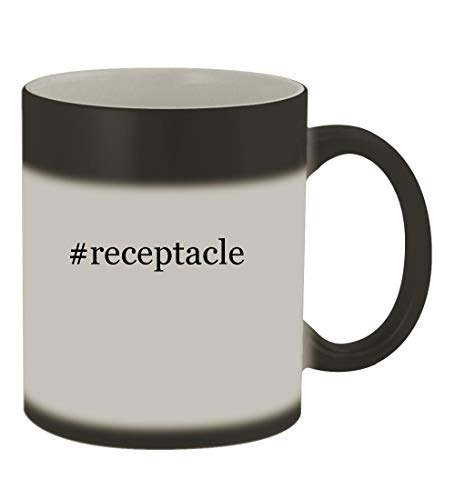 - #receptacle - 11oz Color Changing Hashtag Sturdy Ceramic Coffee Cup Mug, Matte Black
