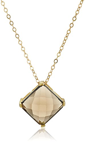 - Gold Over Silver Prong Set Smoky Quartz Pendant Necklace, 18