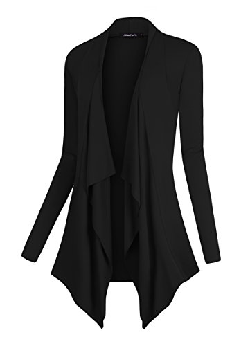 Urban CoCo Women's Drape Front Open Cardigan Long Sleeve Irregular Hem (XL, Black) -