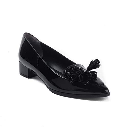 Robert Clergerie Women's 'Sylvie' Patent Leather Tassle Loafer Heel Black Shoes