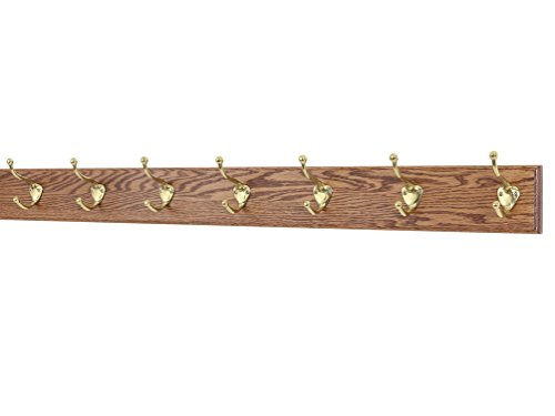 Solid Oak Coat Rack with Solid Brass Hat and Coat Style Hooks – Made in The USA (Chestnut, 36 x 3.5 with 7 hooks)