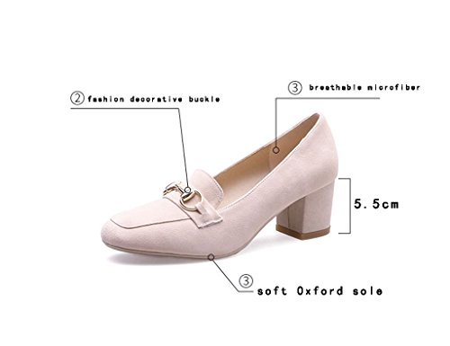 Sandals ZCJB Female Coarse Heel Shoes British Style Shallow Mouth Mid Heel Square Head Women Shoes Casual Shoes (Color : Pink, Size : 36) Nude Color