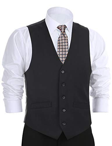 Mens Vest Tux - CHAMA Men's Formal Classic Fit Business Dress Suit Button Down Vest Waistcoat(48 Regular,Black)