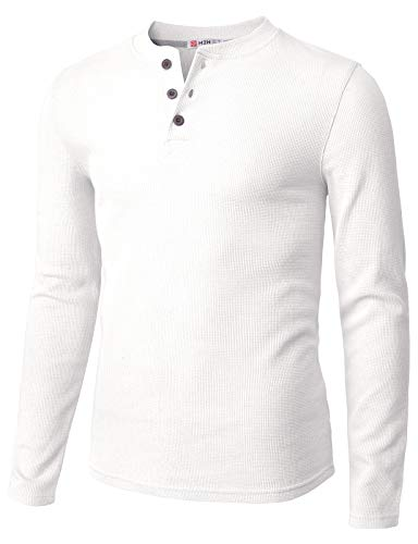 - H2H Mens Casual Henley Long Sleeve Waffle Cotton T-Shirts White US S/Asia M (CMTTL0104)