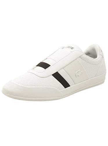 Lacoste Men's Misano Elastic 318 1 U White/Black 8.5 M US - Lacoste Slip On Sneakers