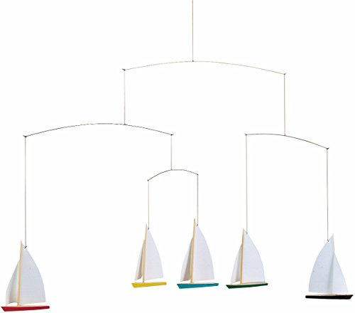 (Flensted Mobiles Dinghy Regatta/5 Hanging Mobile - 26 Inches Beech Wood)