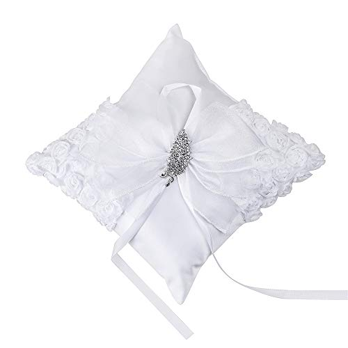 LIANGZHILIAN Ring Bearer Pillow White Cushion Pocket with White Romantic Roses Ribbon Bow Left Rhinestone Decoration Best Gift Keepsake for Engagement Wedding Flower Girl Bridal Shower Ceremony Decor