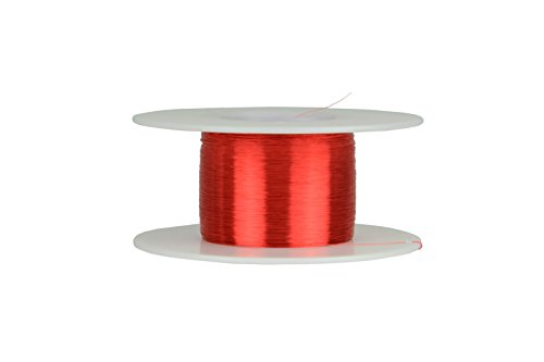 TEMCo 40 AWG Copper Magnet Wire - 2 oz 3990.25 ft 155°C Magnetic Coil Red