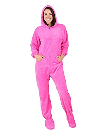 Amazon.com: Footed Pajamas Perfect Pink Adult Hoodie Chenille ...