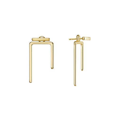 Nickel Free Earrings,18K Gold Stud Earrings Small Ear Piercing Jewelry Casual Dangle Earrings for Women Girls(Style:Bar)