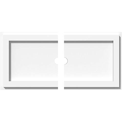 Ekena Millwork CMP16X8RE2-01000 1 in. ID x 5.5 in. Rectangle Architectural Grade PVC Contemporary Ceiling Medallion - 2 Piece