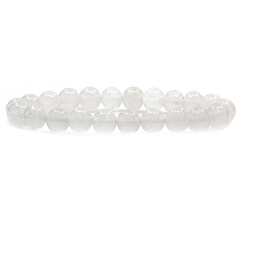 - Amandastone White Jade Gem Semi Precious Gemstone 8mm Ball Beads Stretch Bracelet 7