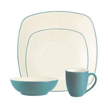 Noritake Colorwave Turquoise 4-Piece Place Setting, Square Shape