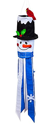Snowman Windsock with Festive Cardinal and Holly 10.5 x 46 x 10.5 Inches