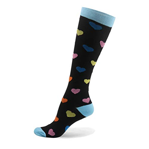 Mum's Memory Graduated Compression Socks for Women and Men, Moderate Compression Stockings for Running, Crossfit, Travel Suits, Nurse, Shin Splints, 20-30 mm, Small, Medium, Heart]()