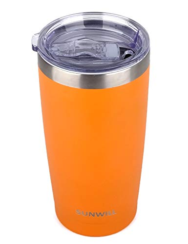 SUNWILL 20oz Tumbler with Lid, Stainless Steel Vacuum Insulated Double Wall Travel Tumbler, Durable Insulated Coffee Mug, Powder Coated Orange, Thermal Cup with Splash Proof Sliding Lid