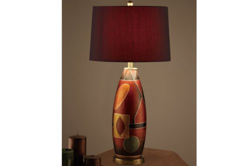 Poundex Set of 2, Beautiful Contemporary Table Lamp with Red Color Shade and Earth Color Base