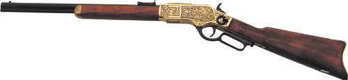 - Denix 1873 Engraved Lever Action Rifle, Gold Finish - Non-Firing Replica