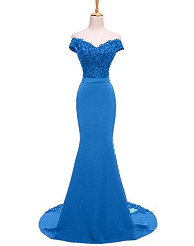Cocktail Damen Ballkleider Lang Brautjungfernkleider Blue Meerjungfrau Shulterfrei Bainjinbai Abendkleider wAdaxYqq7
