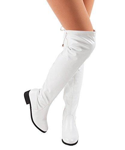 RF RAUM DER MODE Frauen Overknee Low Block Heel Pull Stretch-Stiefel - Erhältlich in mittleren und breiten Kalb Weißer Pu - Mittleres Kalb