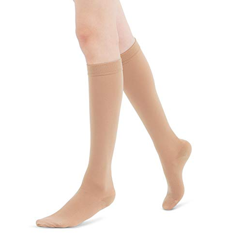 Fytto 1020 Women's Compression Socks, Opaque 15-20mmHg Hosiery, Flight Stockings – Smooth-Knit Professional Support for Business & Travel, Nude, Medium ()