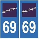 Autocollant plaque immatriculation auto département 69 Rhône