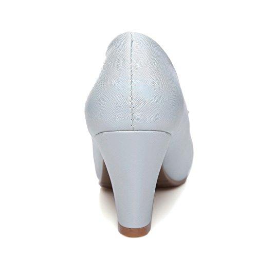Balamasa Dames Metalen Ornament Glas Diamant Dikke Hak Nagebootst Lederen Pumps-schoenen Blauw