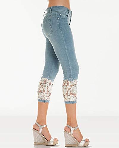 Bleu Dentelle Pantalons Fonc Denim Cropped Skinny Crayon Femmes Fit Slim Jeans Capri Pantalon vPFw5q