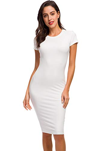 Acacia Flowers Women's Knitting Sexy Casual Short Sleeve Bodycon Tight Midi Dress Cocktail Party Pencil Dresses S Size Gifts for Mothers Day for Mom from Daughter White