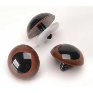 16.5mm Animal Eyes Brown Black Center 2 pair