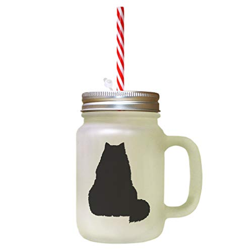 Black Himalayan Cat Silhouette #3 Frosted Glass Mason Jar With - Black Cat Himalayan
