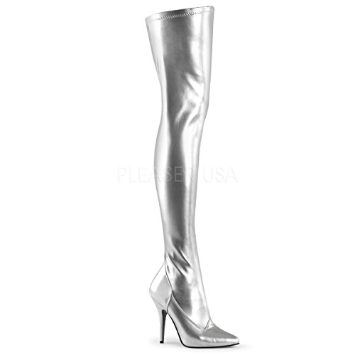 (Pleaser SED3000/S/PU Women's Boot, Silver Stretch Faux Leather, 8 M US)