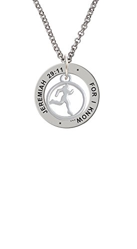 (Runner Silhouette in 1/2'' Disc - Jeremiah 29:11 Affirmation Ring Necklace)