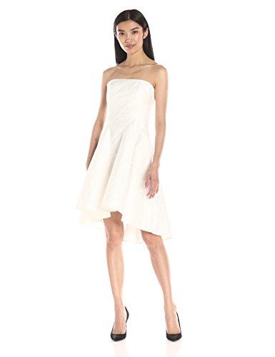 Strapless Linen Dress (Halston Heritage Women's Strapless Jacquard Dress, Linen White, 14)