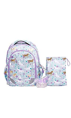 CRCKT Youth Backpack, 3 Piece Set with Lunch Kit and Matching Ice Pack, Unicorn ()