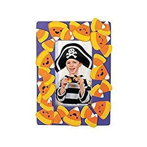 Fun Express Halloween Candy Corn Picture Frame Magnet Foam Craft kit-Makes 12