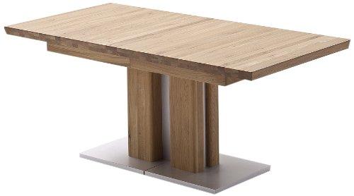 Ausziehbarer Säulentisch Bari - Tischplatte und Gestell Eiche massiv matt lackiert - Absetzung Gestell und Bodenplatte Edelstahloptik - Maße in B/H/T: ca. 160(310)x77x90 cm