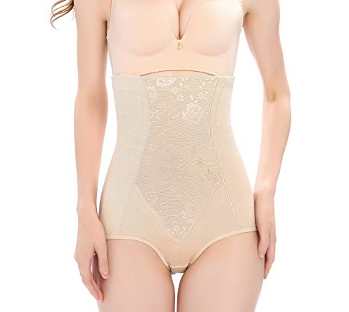 Vlazom Body Shaper High Waisted Tummy Control Butt Lifter Pattern Shapewear Cotton Slimming Briefs Waist Cincher for Women Beige