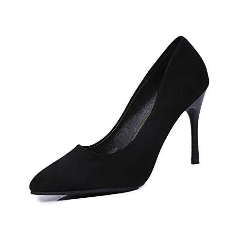 Yukun zapatos de tacón alto Zapatos De Tacón Alto Zapatos De Tacón Alto De Ante con Corte Bajo Zapatos De Tacón De Aguja De poca Profundidad Color Sólido Juego De Pies Black