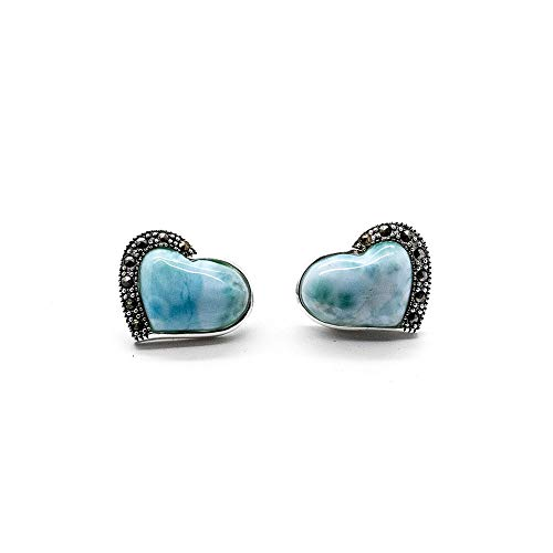- Women Larimar Stud Earrings 14K White Plated Silver CZ with Heart Shape Natural Gemstone Fashion Earrings Handmade Jewelry Best Gift