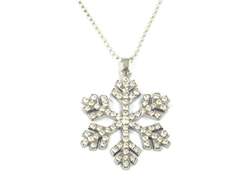 Kuzhi Frozen Silver-Plated Crystal Snowflake Pendant Necklace -