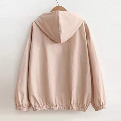 manica top sport autunno lunga donna cappuccio signora sottile Overdose cerniera camicetta caldo con rosa tasche felpa casual da top ExqgPwIa