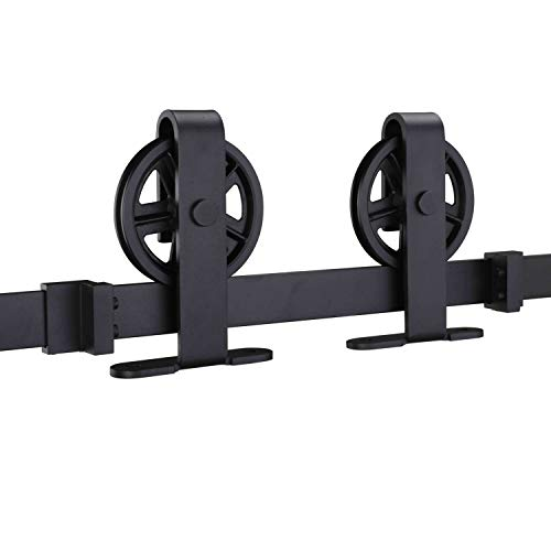 (EaseLife 6.6 FT Top Mount Big Wheel Sliding Barn Door Hardware Track Kit- Heavy Duty | Slide Smooth Quiet | One Piece 6.6FT Track | Easy Install | Fit up to 40